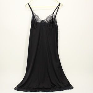 Vintage Kayser Black Lace Detail Slip Night Gown